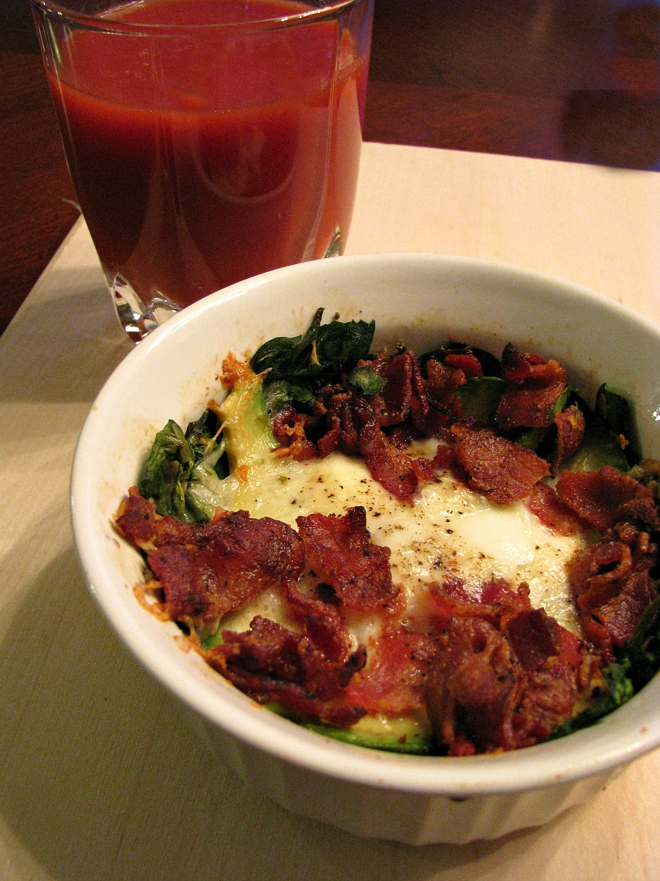 Baked Eggs with Spinach Bacon and Avocado