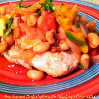 Pan Seared Pork Cutlet with Black Eyed Pea Salsa – Guest Post from Spatulas On Parade