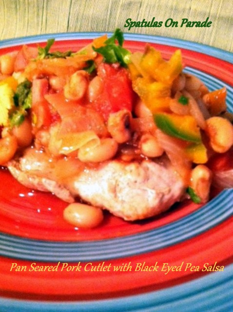 pan seared pork cutlet with black eyed pea salsa #SpatulasOnParade
