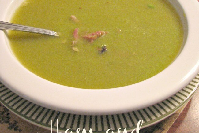 Ham and Pea Soup- Made with a delicious ham stock from a leftover meaty ham bone and frozen peas for vibrate color.