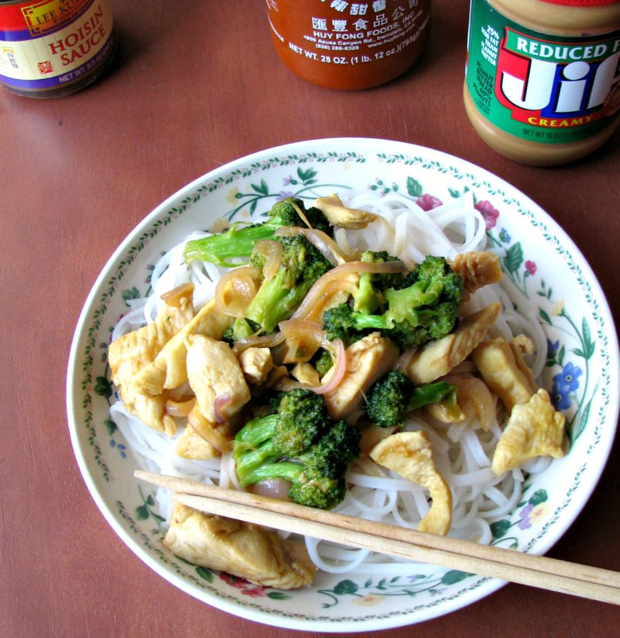A quick and easy weeknight dinner, this Hoisin Chicken Stir-Fry is made with thin sliced chicken breast strips, broccoli, and onions in a delicious hoisin, peanut butter, and sriracha sauce.