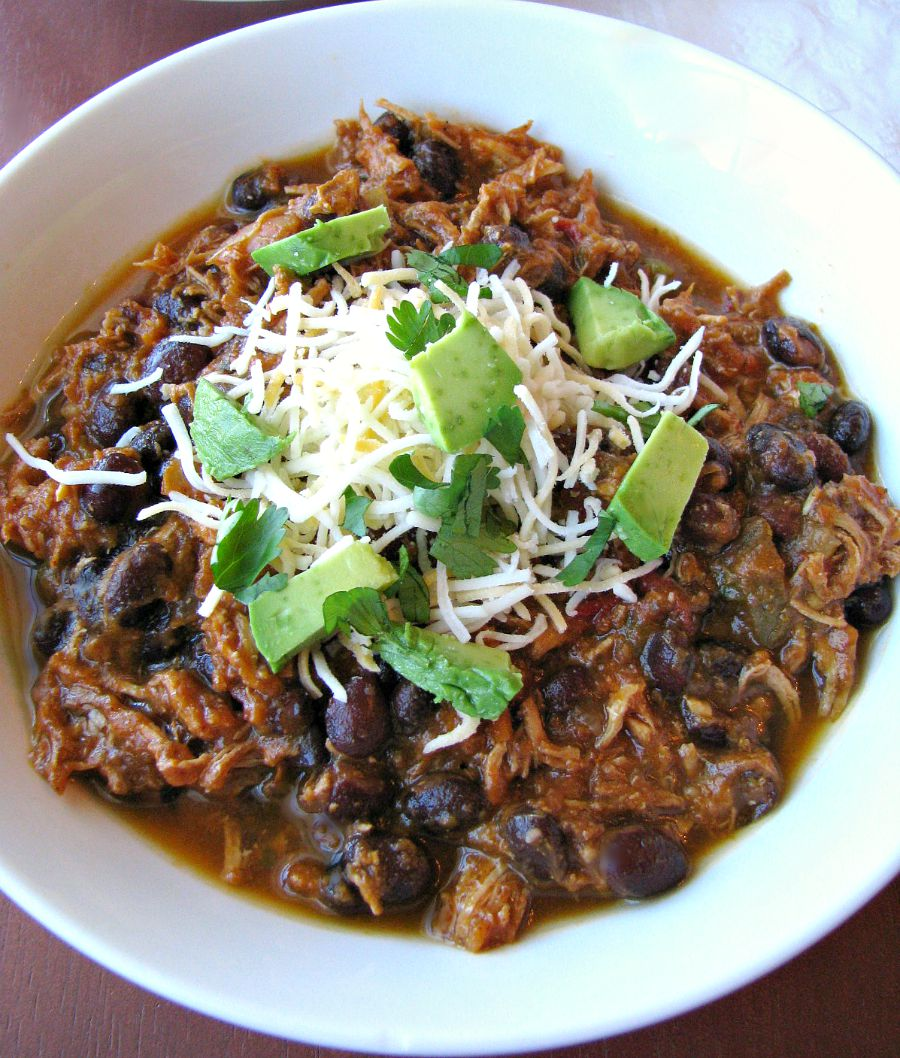Thick, slightly spicy chicken chili with black beans and pumpkin puree.