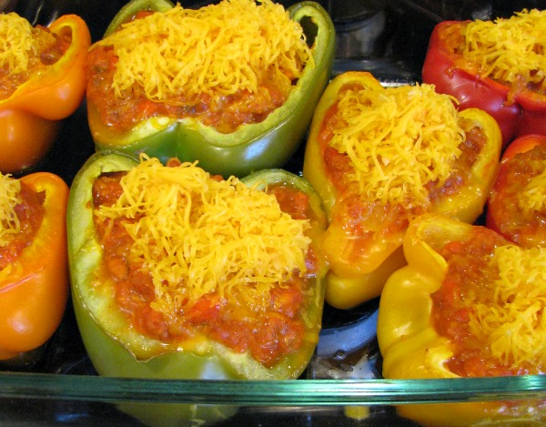 Cheese topped Sloppy Joe Stuffed Peppers