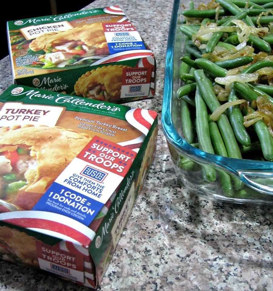 Marie Callender's Pot Pies and fresh green bean casserole.