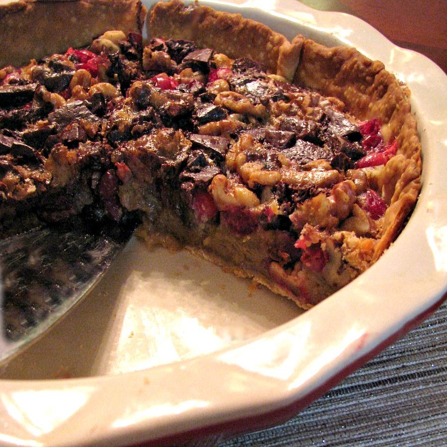 Chocolate Walnut Cranberry Pie- the perfect holiday dessert recipe!