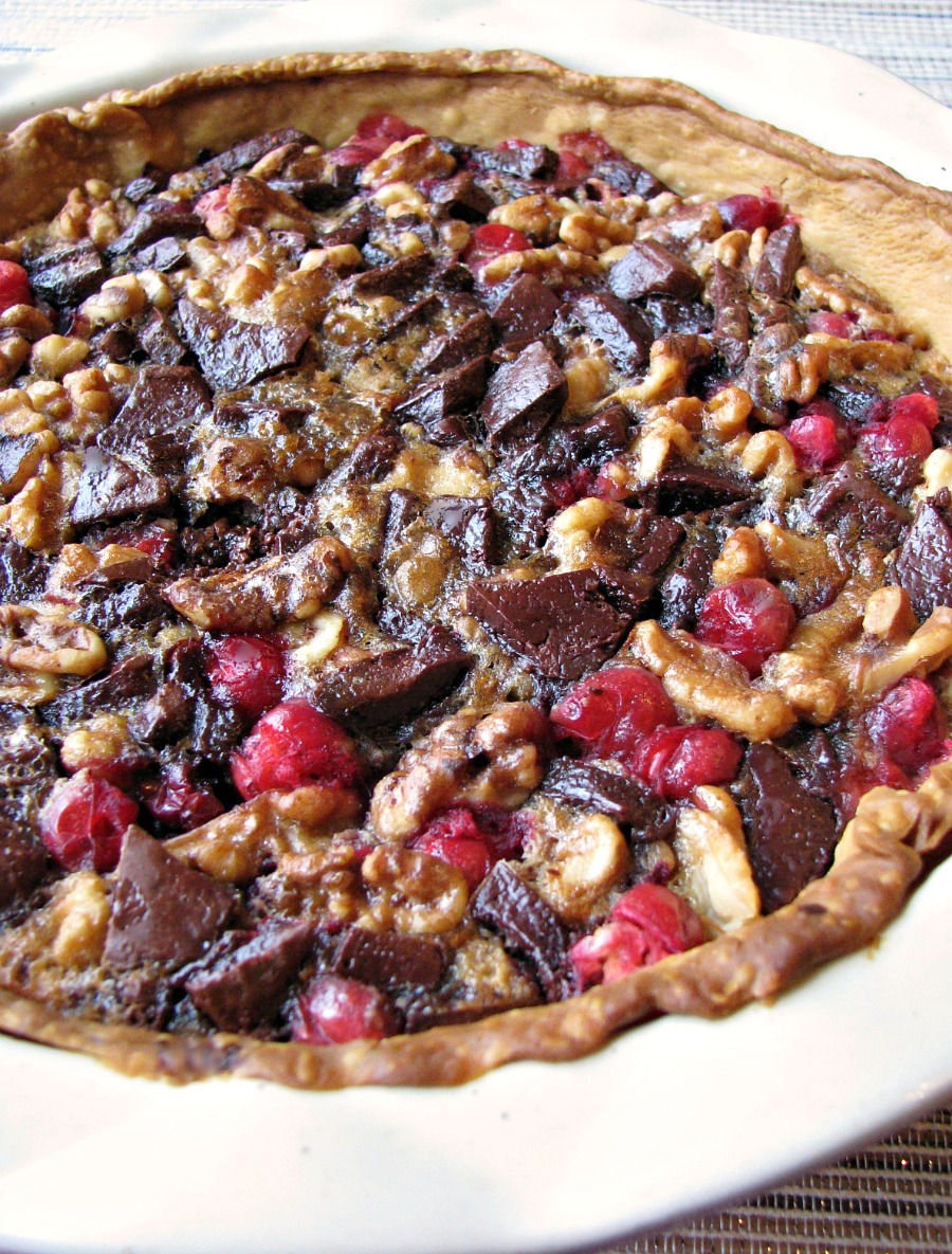 Sweet and tart Chocolate Walnut Cranberry Pie makes a great addition to any holiday table.