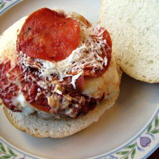 Turkey Pepperoni Pizza Burgers