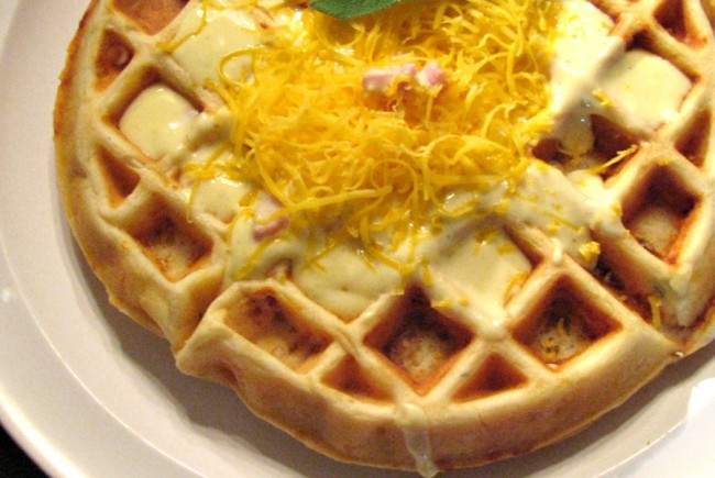 Savory Ham, Cheese and Sage Waffles for #SundaySupper