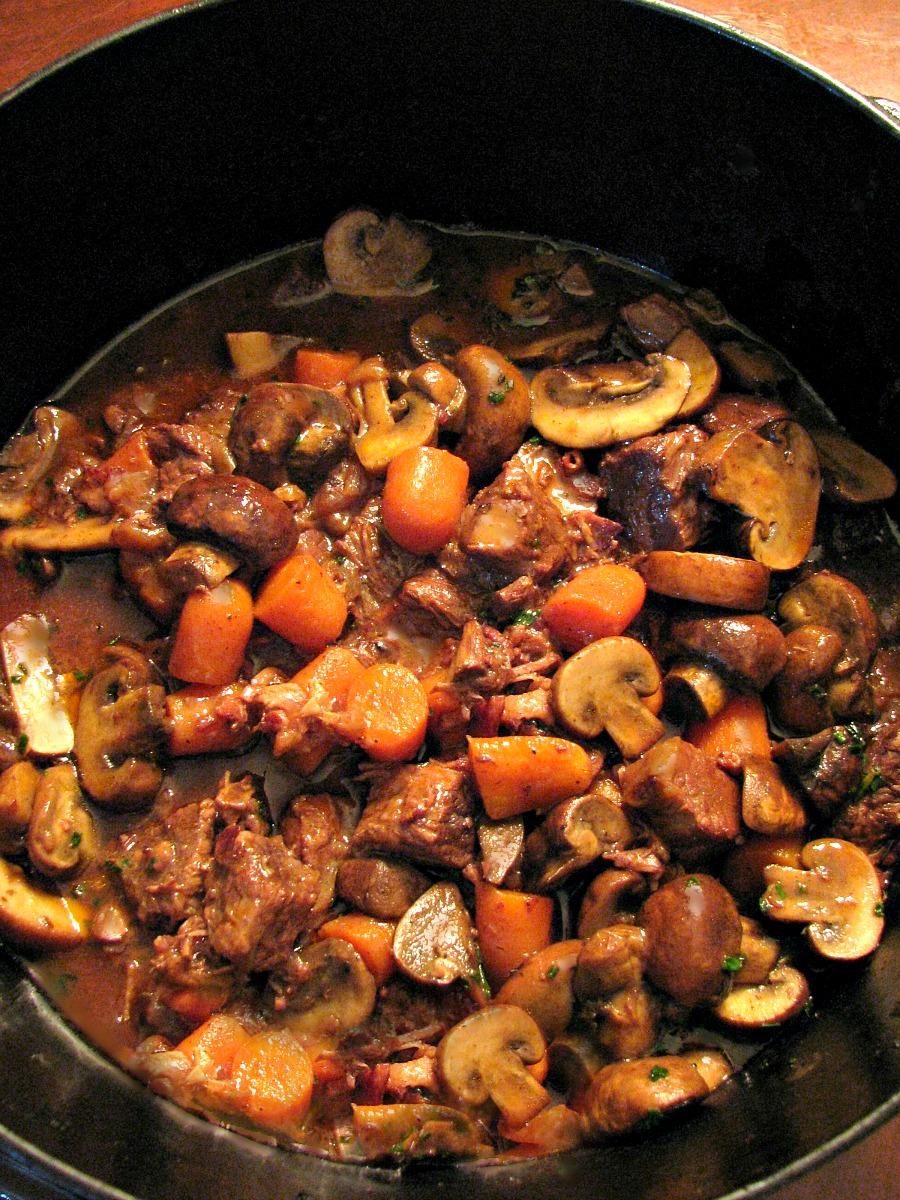 Beef Bourguignon in the Dutch oven.