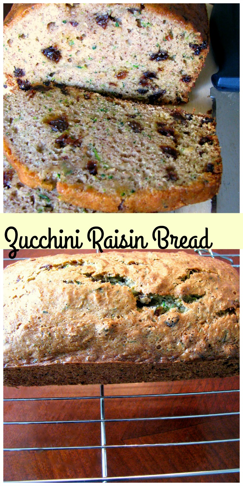 Sweet, delicious zucchini bread made with raisins and nut-free.