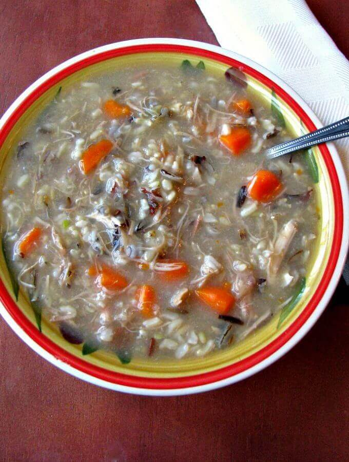Filling and warming Turkey Wild Rice Soup is a great way to use up leftover turkey. Make it with homemade turkey stock for a fully home cooked meal the whole family will love!
