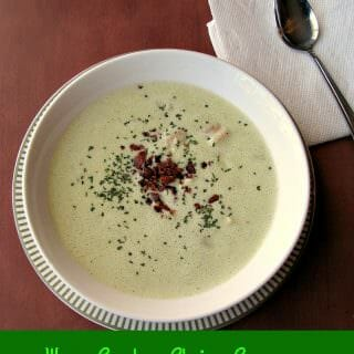 Baby shrimp in a creamy avocado chicken broth topped with crumbled bacon make this creamy Warm Avocado Shrimp Soup easy enough for everyday yet elegant enough for holiday dinners.