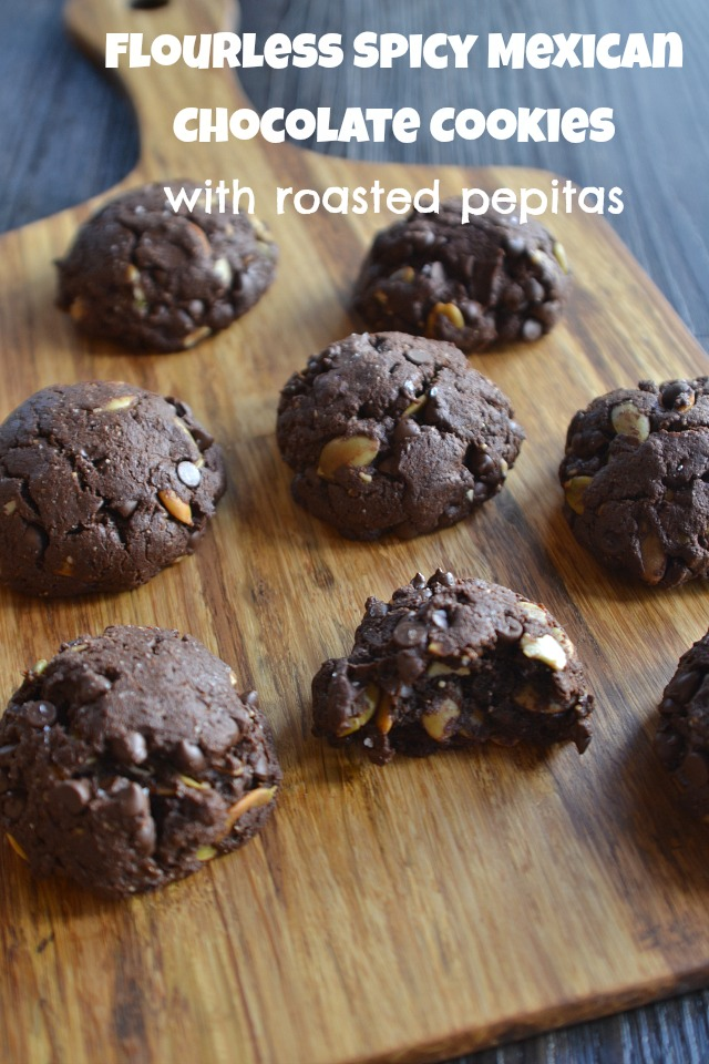 Flourless Mexican Chocolate Cookies with Spicy Roasted Pepitas