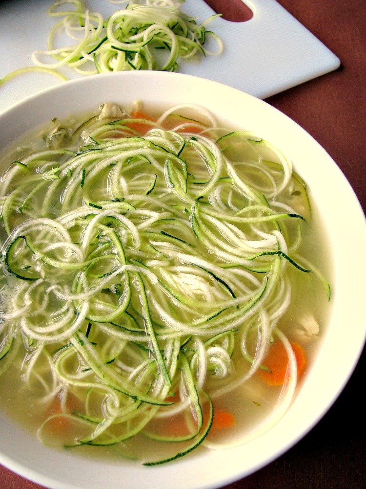 Healthy and filling, easy to make Chicken Zoodle Soup made with leftover chicken and zucchini noodles, perfect for the cold weather.