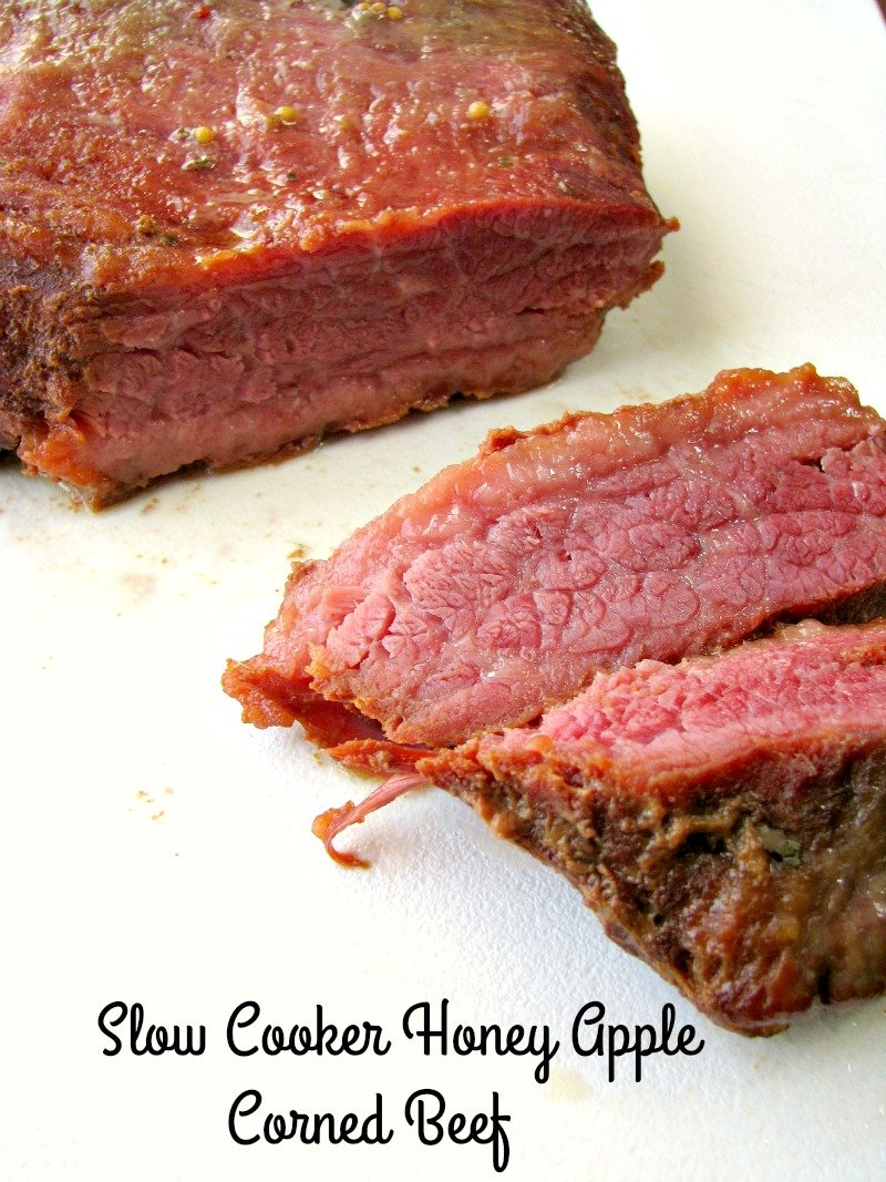 Three ingredient Slow Cooker Honey Apple Corned Beef made with only apple juice and honey is great for St. Patrick's Day or any day of the week.